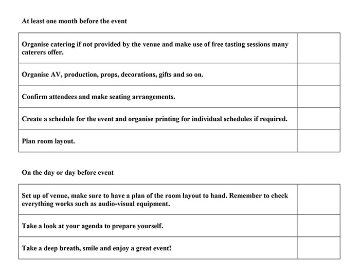 Event planning checklist Function Fixers