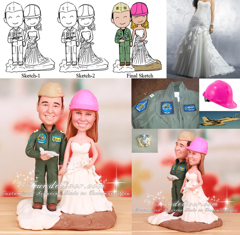 Civil Engineer and Navy F-18 Aviator Wedding Cake Toppers