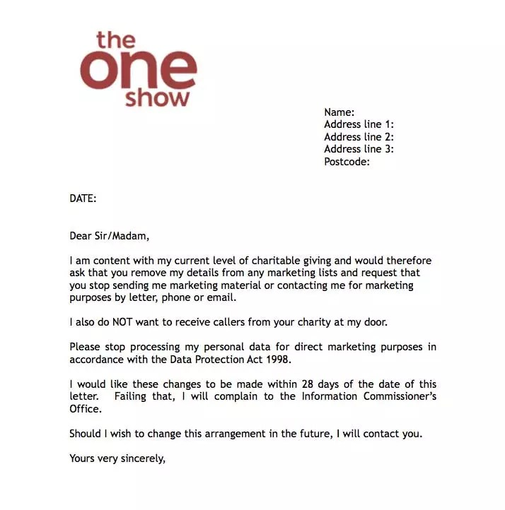 Fundraising Donation Letter Template 12 Items To Include Bbcs The One Show Offers Dont Contact Me Letter To