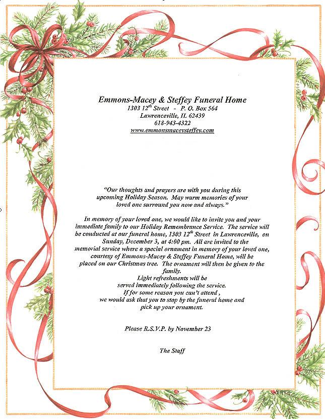 Memorial Service Invitations - invitation for funeral ceremony