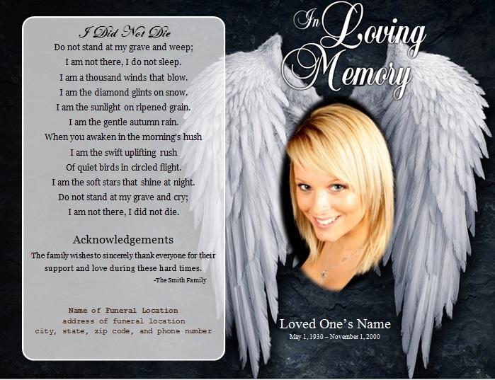 Angel Single Fold Memorial Program - Funeral Pamphlets - memorial program