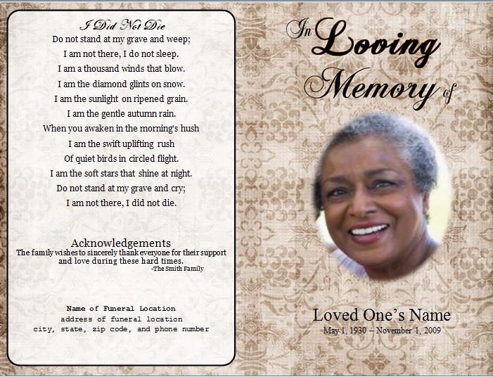 Floral Designs Single Fold Memorial Program - Funeral Pamphlets - memorial program