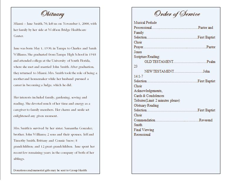 Prayer Single Fold Memorial Program - Funeral Pamphlets - order of service template free