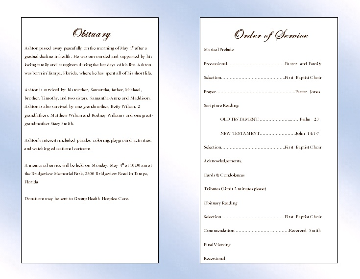 Clouds Youth Memorial Program - Funeral Pamphlets - memorial program