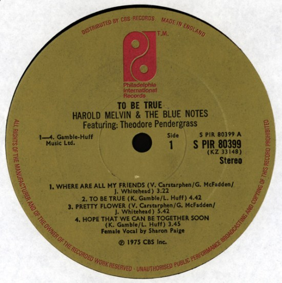 Harold Melvin & The Blue Notes – 1975 – To Be True