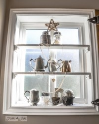 Silver bling Christmas tree window shelvesFunky Junk Interiors