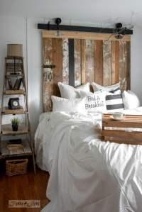 A cheater reclaimed wood barn door headboard with faux ...