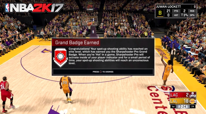 How to Get Sharpshooter Pro Grand Badge in NBA 2K17