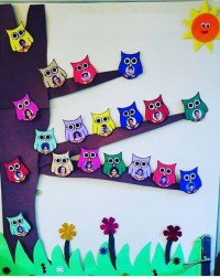 owls door decoration for preschool  funnycrafts