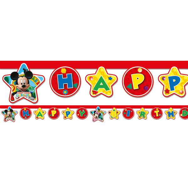 Mickey Mouse Party Happy Birthday Letter Banner - Fun Party Supplies
