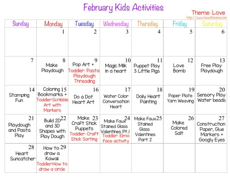 Kids Activity February 2016 Customizable Printable Calendar - Fun with ...