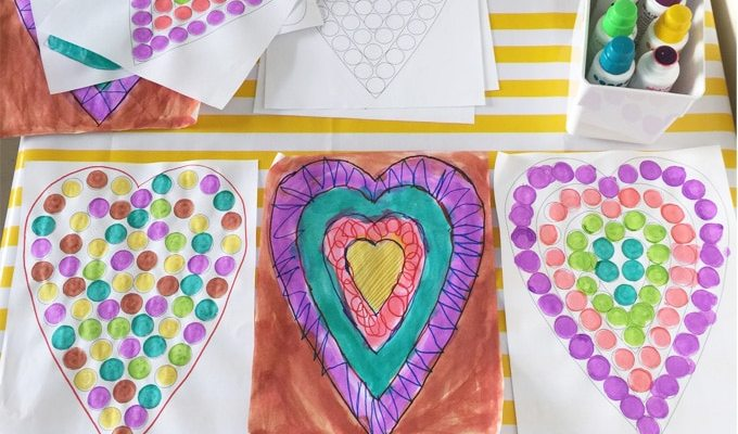 Printable Do A Dot Heart Valentines Day Activity