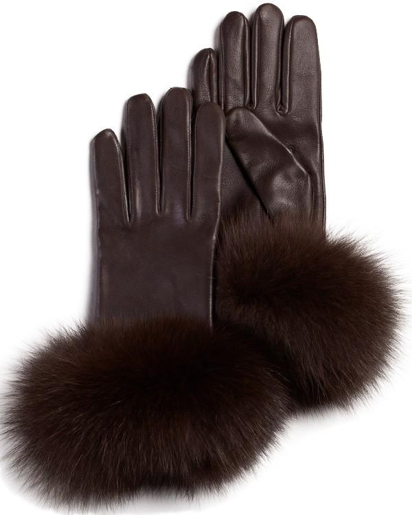 Fox Fur Trim Wool Lined Leather Gloves FurHatWorld