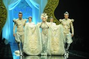 Carmen dell Orefice majestically walked the runway of Guo Pei Haute Couture Show in 2011