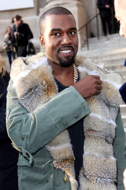 Kanye West consistently wears his fur with attitude