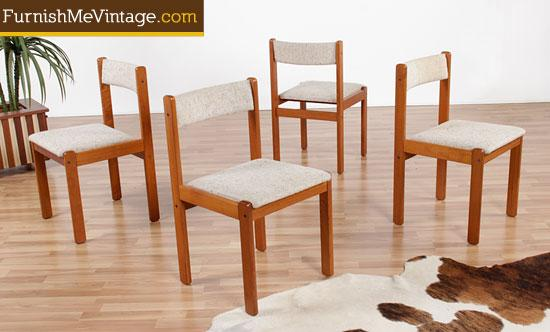 Set Of Four Original Vintage Teak Dining Chairs