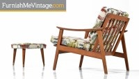 Mid century modern arm chair with ottoman