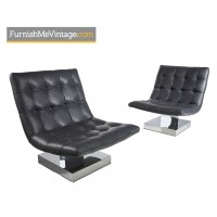 Baughman Gray Tufted Leather Chrome Base Scoop Lounge ...