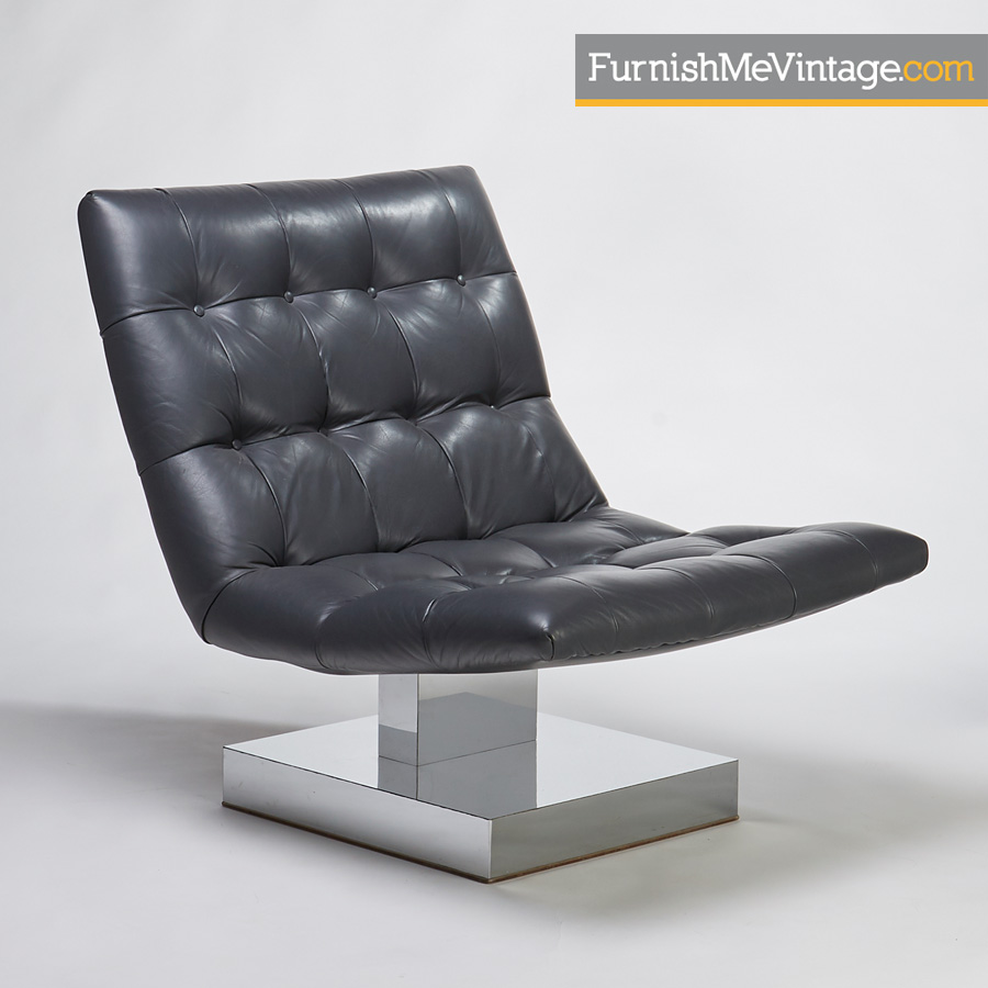 Baughman Gray Tufted Leather Chrome Base Scoop Lounge