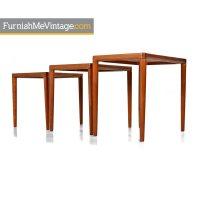 K.T. Danish Modern Teak Nesting Tables - Furnish Me Vintage