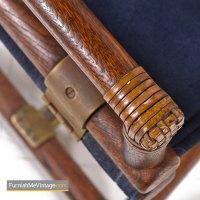 McGuire Directors Chair - Vintage Blue Suede Leather Oak ...