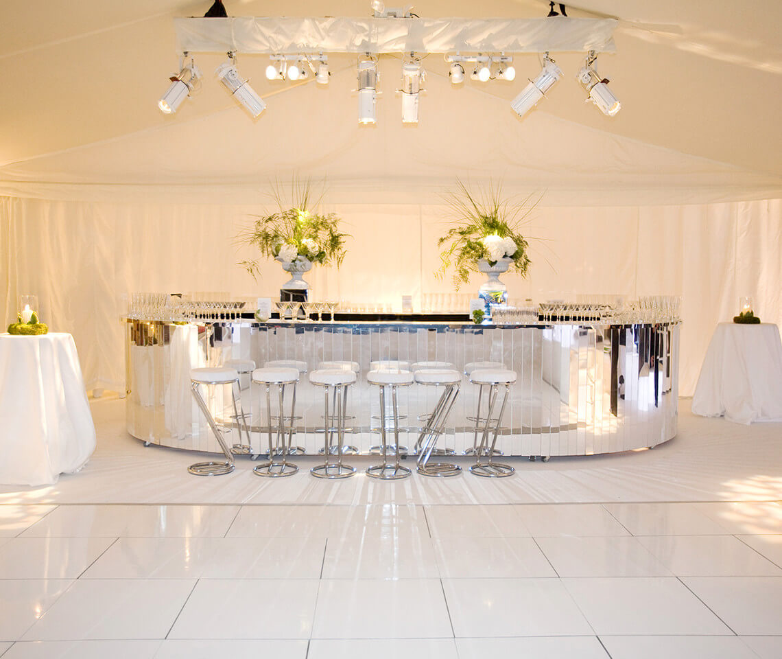 Slatted Silver Mirror Bar Furniture4events
