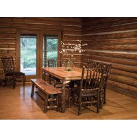 Set of Two Hickory Stick Back Rustic Dining Chairs with ...
