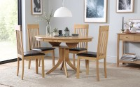 Hudson Round Extending Dining Table and 4 Oxford Chairs ...