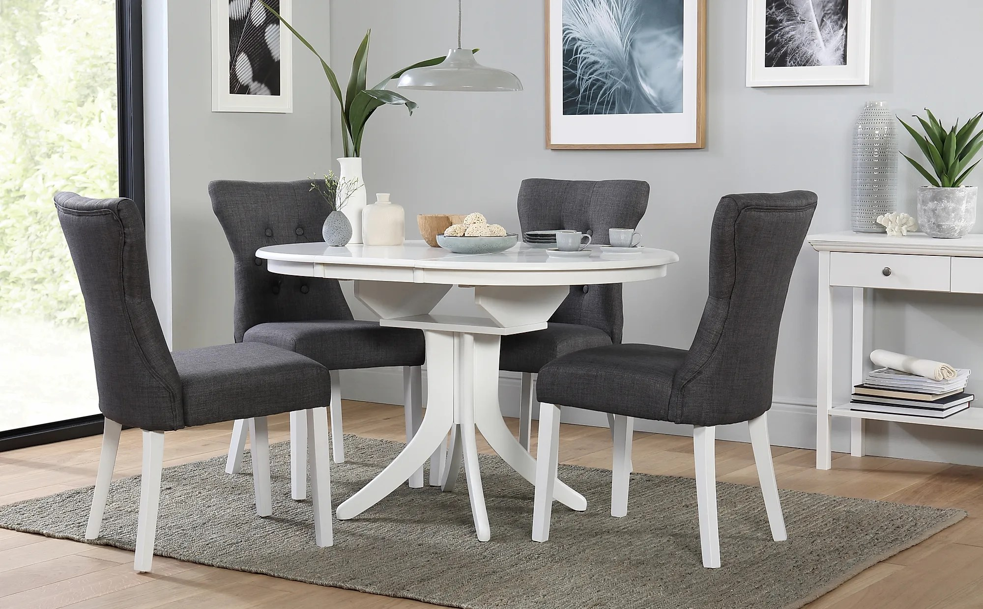 Hudson Round White Extending Dining Table With 4 Bewley