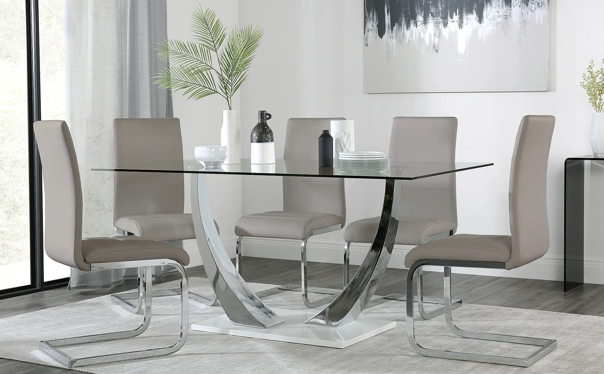 Peake Glass And Chrome Dining Table White Gloss Base With