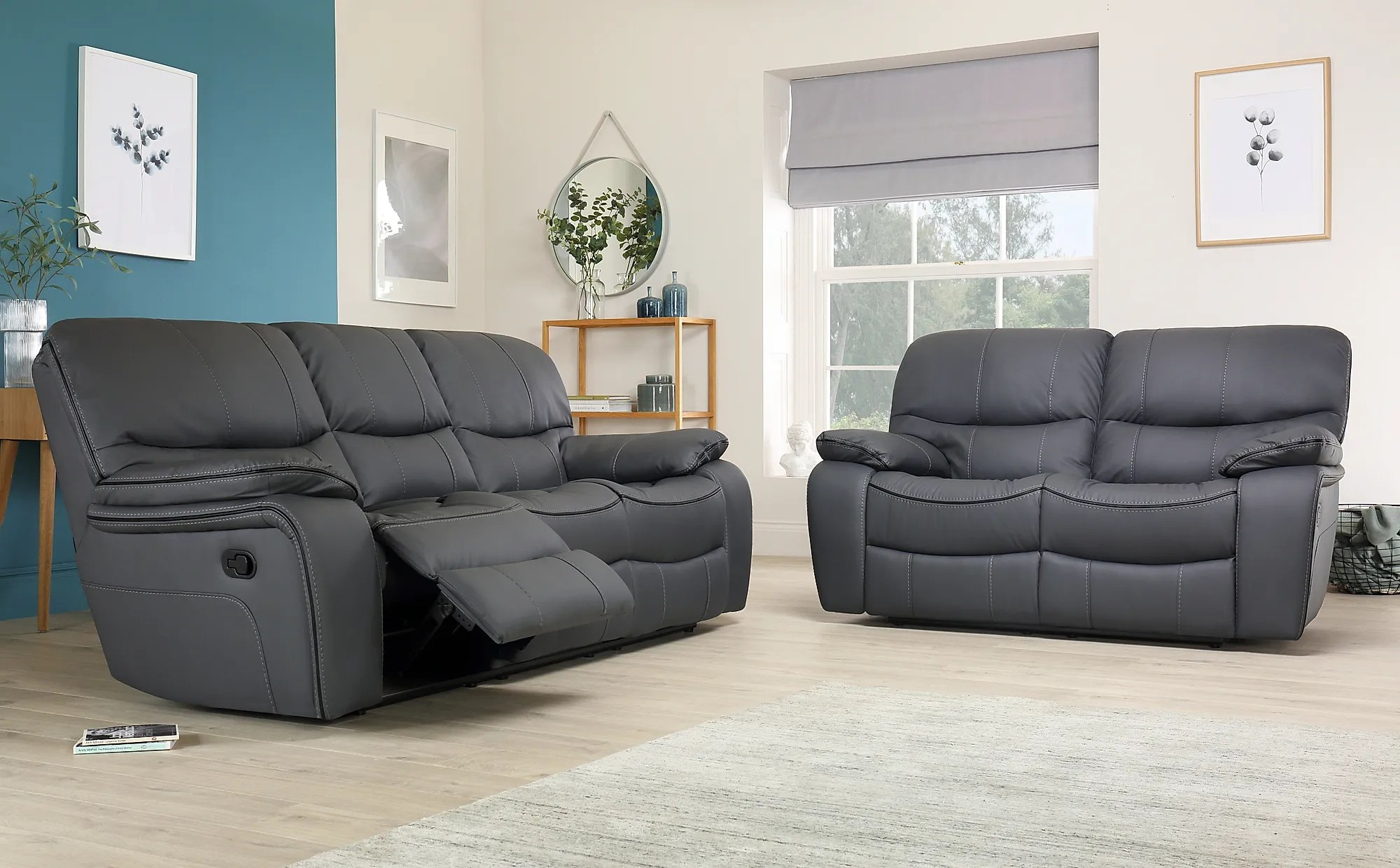 Beaumont Grey Leather Recliner Sofa 3 2 Seater Only 1099