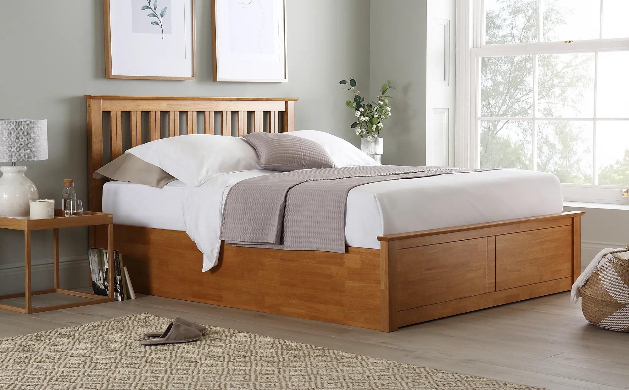 Phoenix Oak Wooden Ottoman Storage Bed Bed King Size Only