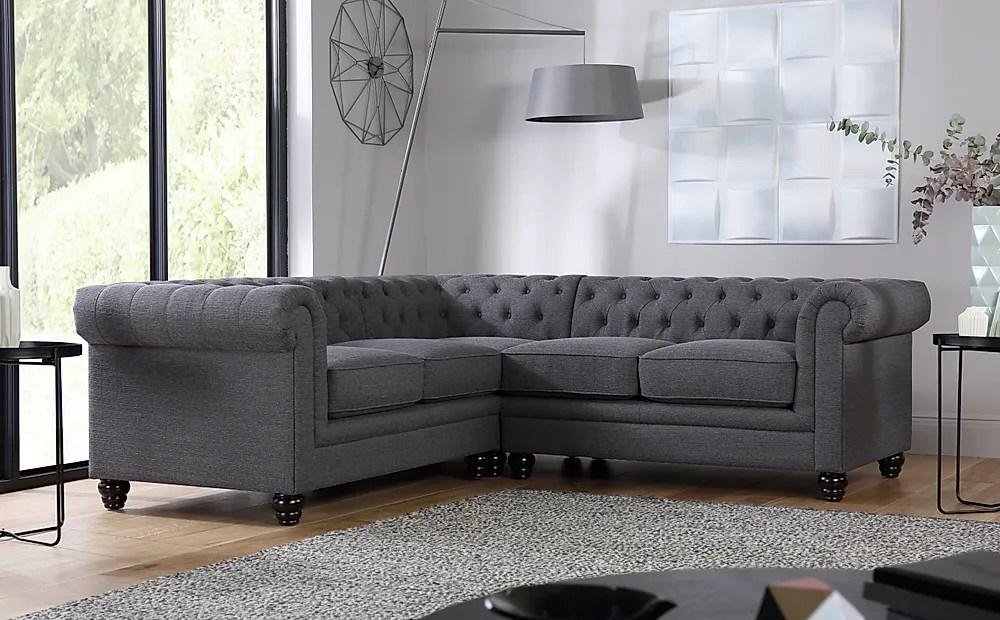 Hampton Slate Fabric Chesterfield Corner Sofa Only 1099