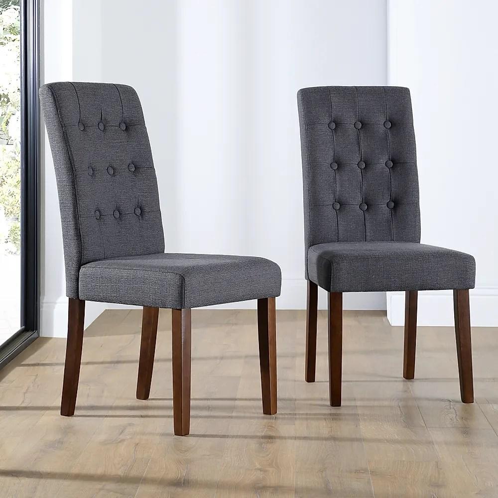 Regent Fabric Button Back Dining Chair Slate Wenge Leg