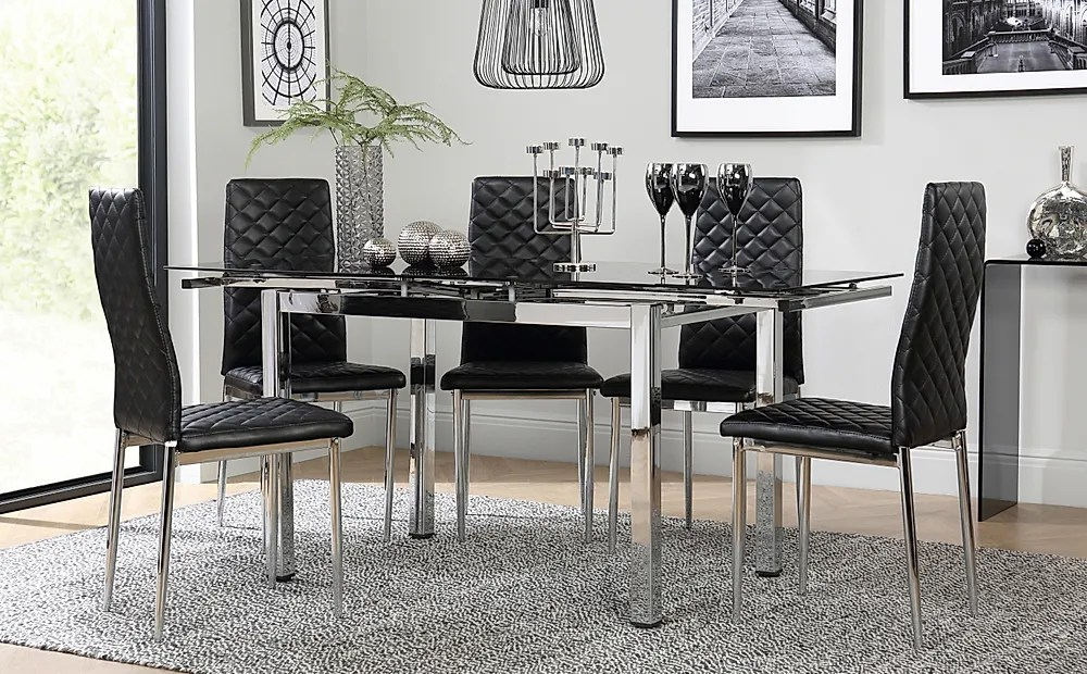 Space Chrome Black Glass Extending Dining Table With 6