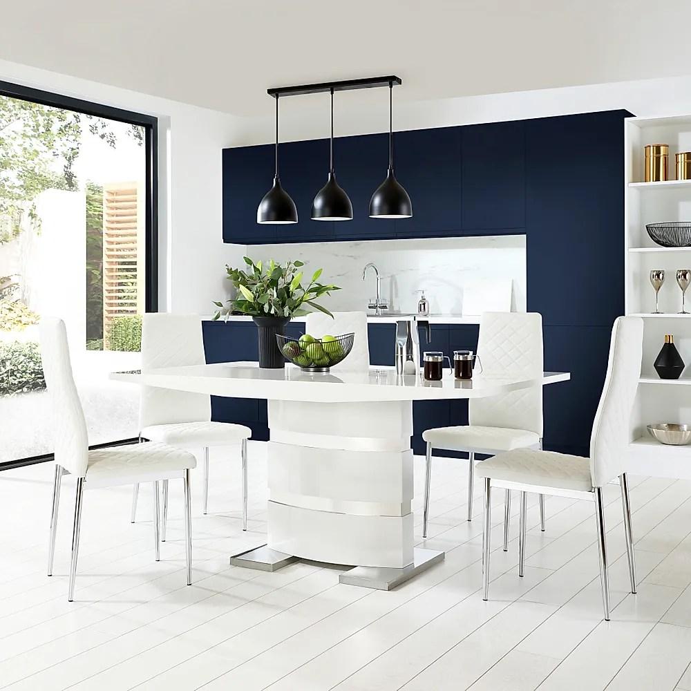 Komoro White High Gloss Dining Table With 4 Renzo White
