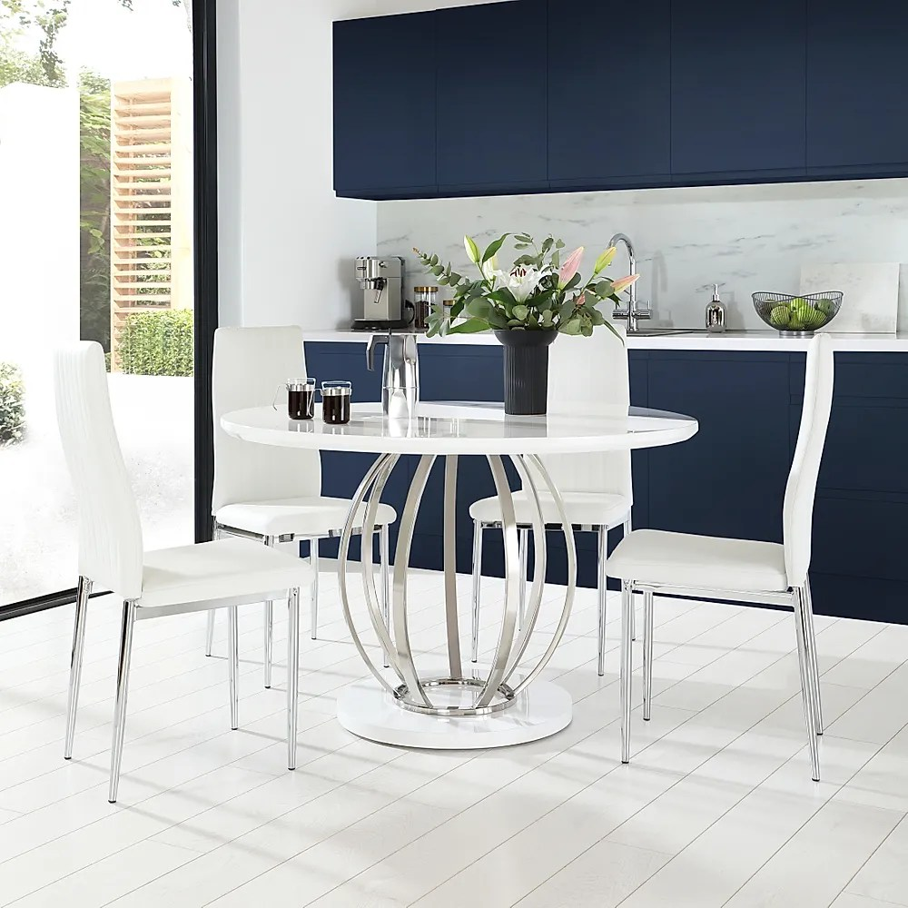 Savoy Round White High Gloss And Chrome Dining Table With