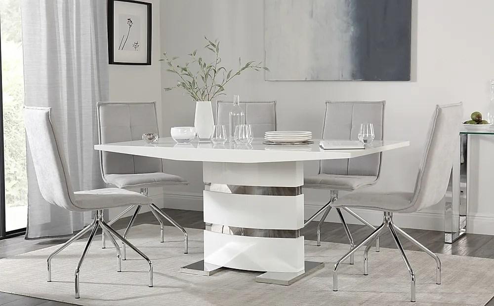 Komoro White High Gloss Dining Table With 4 Soho Dove Grey