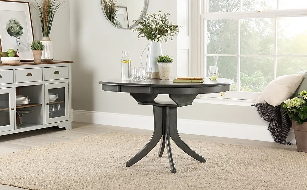 Hudson Round Grey Wood Extending Dining Table 90 120cm
