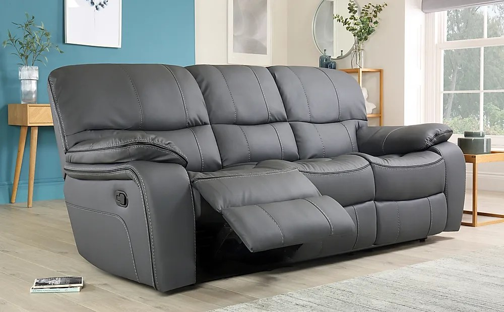 Beaumont Grey Leather Recliner Sofa 3 Seater Only 64999