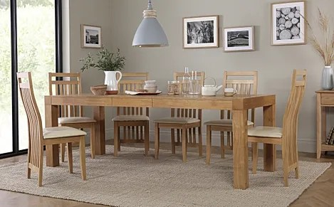 Cambridge 175 220cm Oak Extending Dining Table With 8 Bali