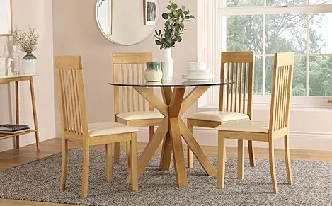 Hatton Round Oak And Glass Dining Table With 4 Oxford