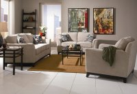 Beige Chenille Fabric Modern Living Room Sofa w/Options