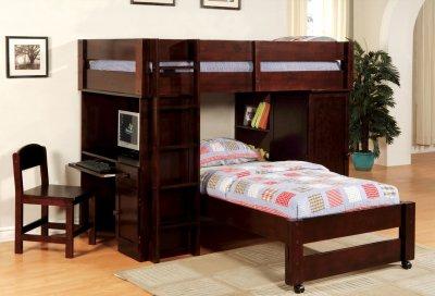 Cm Bk529exp Harford Bunk Bed In Dark Walnut W Desk Chair