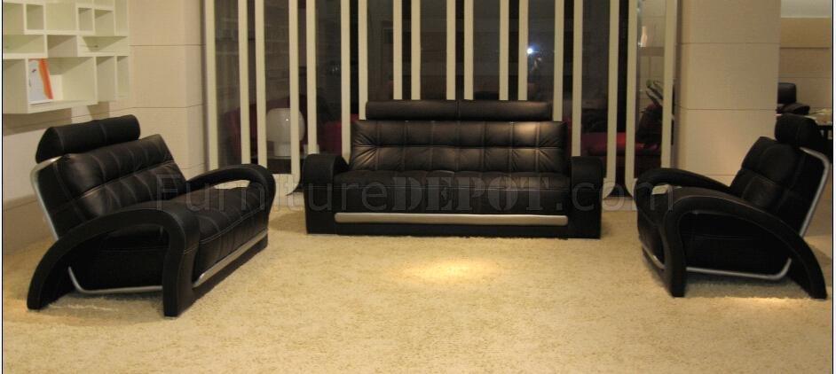 Leather Modern 4 Piece Living Room Set Bentley Black BN-B201 - black living room sets