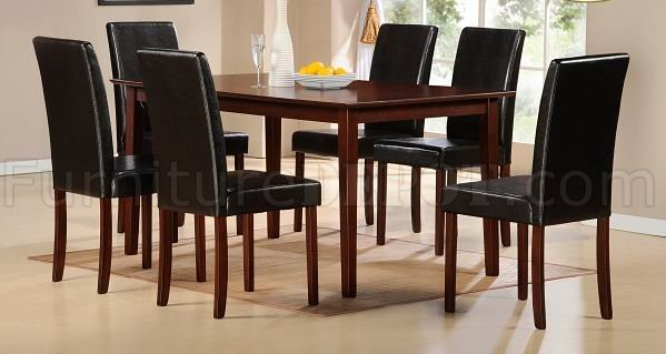 Cherry Finish Modern Dining Table W Optional Bicast Chairs