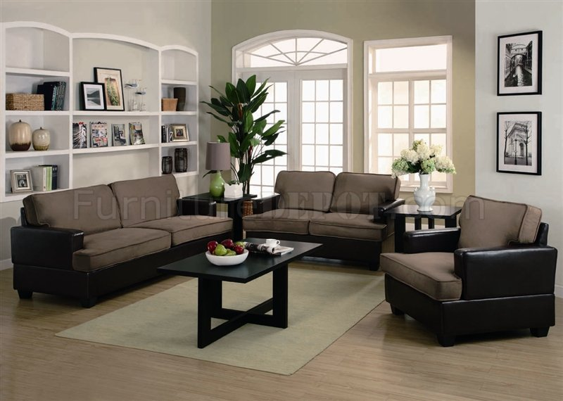 Taupe Microfiber \ Dark Brown Vinyl Modern 3Pc Sofa Set - two piece living room set