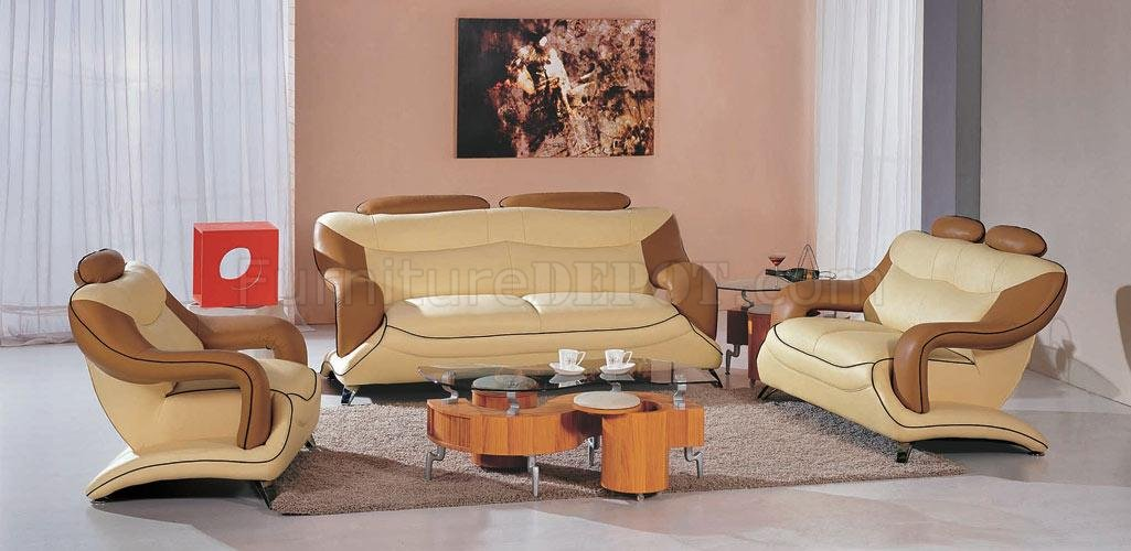 Two-Tone Leather Modern 3PC Living Room Set 7055 Beige \ Brown - purple living room set