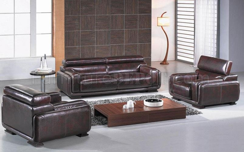 Burgundy Brown Leather 3 Piece Living Room Set BO3919 Baltimore - 3 piece living room furniture set