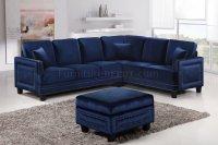 Ferrara Sectional Sofa 655 in Navy Velvet Fabric w/Options